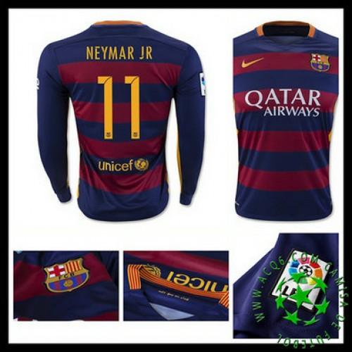 6953ee3225 Camisa De Futebol Barcelona (11 Neymar Jr) Manga Longa 2015-2016 I Masculina