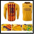 Camisa De Futebol Barcelona (18 Jordi Alba) Manga Longa 2015-2016 Ii Masculina