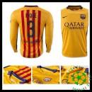Camisa De Futebol Barcelona (3 Pique) Manga Longa 2015 2016 Ii Masculina