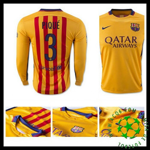 Camisa De Futebol Barcelona (3 Pique) Manga Longa 2015 2016 Ii Masculina bec91915a0a30