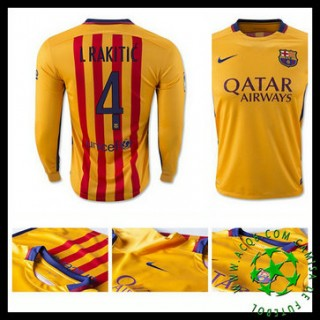 Camisa Du Futebol Barcelona (4 I.Rakitic) Manga Longa 2015 2016 Ii Masculina