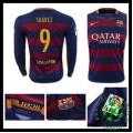Camisa Du Futebol Barcelona (9 Suarez) Manga Longa 2015/2016 I Masculina