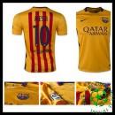 Uniforme De Futebol Barcelona (10 Messi) 2015-2016 Ii Masculina