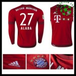 Camisa De Futebol Bayern München (27 Alaba) Manga Longa 2015 2016 I Masculina