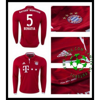 Uniformes De Futebol Bayern Munich Benatia Manga Longa 2016 2017 I Masculina