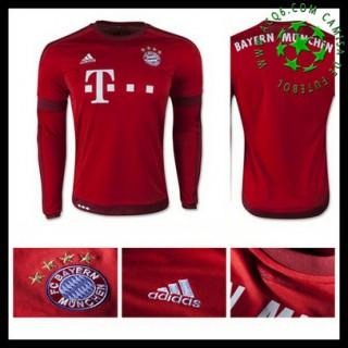 Camisa De Futebol Bayern München Manga Longa 2015/2016 I Masculina