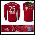 Camisa Futebol Bayern München (25 Muller) Manga Longa 2015 2016 I Masculina