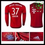 Uniforme De Futebol Bayern München (37 Green) Manga Longa 2015 2016 I Masculina