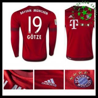 Camisa Futebol Bayern München (19 Gotze) Manga Longa 2015/2016 I Masculina