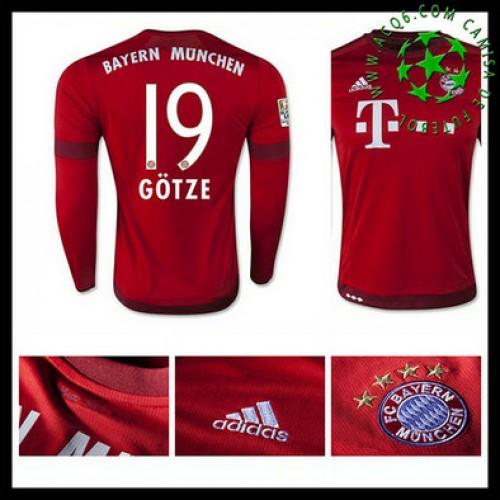 Camisa Futebol Bayern München (19 Gotze) Manga Longa 2015 2016 I Masculina 5651167e8f1fb