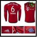 Camisa Futebol Bayern München (6 Thiago) Manga Longa 2015-2016 I Masculina