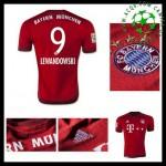 Camisas Du Futebol Bayern München (9 Lewandowski) 2015 2016 I Masculina
