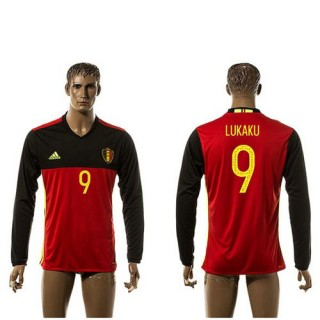 Bélgica Camisetas Lukaku Manga Longa 2015-2016 I Masculina