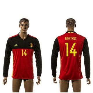 Bélgica Camisa Futebol Mertens Manga Longa 2015/2016 I Masculina