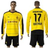 Borussia Dortmund Camisas De Futebol Aubameyang Manga Longa 2015-2016 I Masculina