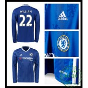Desestocagem Camisas De Futebol Manga Longa Willian Chelsea Fc Masculina 2016/2017 I Loja On-Line
