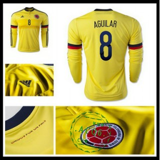 Camisa Futebol Colômbia (8 Aguilar) Manga Longa 2015 2016 I Masculina