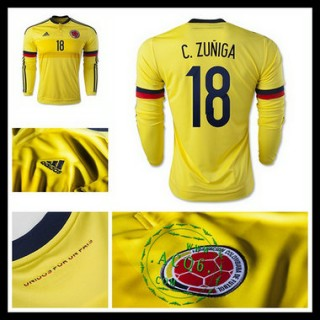 Camisa Du Futebol Colômbia (18 C.Zuniga) Manga Longa 2015 2016 I Masculina