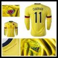 Camisa De Futebol Colômbia (11 Cuadrado) Manga Longa 2015-2016 I Masculina