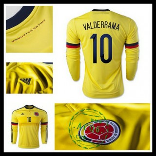 Camisa Futebol Colômbia (10 Valderrama) Manga Longa 2015 2016 I Masculina