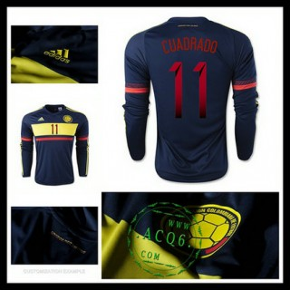 Camisas De Futebol Colômbia (11 Cuadrado) Manga Longa 2015 2016 Ii Masculina