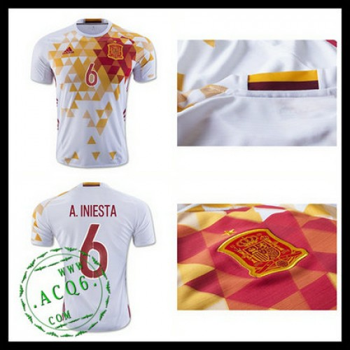 Camisetas (6 A.Iniesta) Espanha Autêntico Ii Euro 2016 Masculina ... 5cc4d07dabe93