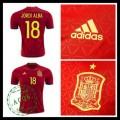 Camisa De Futebol (18 Jordi Alba) Espanha Autêntico I Euro 2016 Masculina