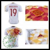 Camisa De Futebol (19 Diego Costa) Espanha Autêntico Ii Euro 2016 Masculina