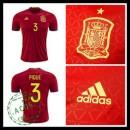Camisa De Futebol (3 Pique) Espanha Autêntico I Euro 2016 Masculina