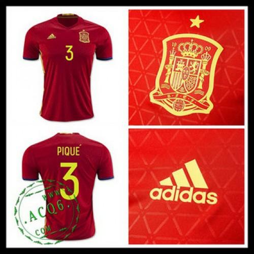 6a368515ed Camisa De Futebol (3 Pique) Espanha Autêntico I Euro 2016 Masculina ...