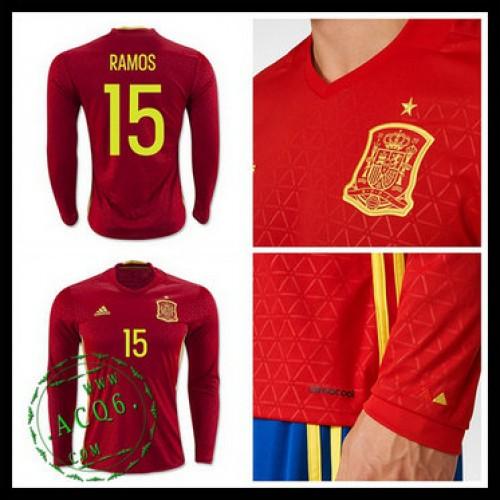 df28819ab2 Uniforme De Futebol (15 Ramos) Espanha Autêntico I Manga Longa Euro 2016  Masculina