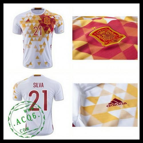 Uniformes De Futebol (21 Silva) Espanha Autêntico Ii Euro 2016 Masculina fe10686c8ee7e