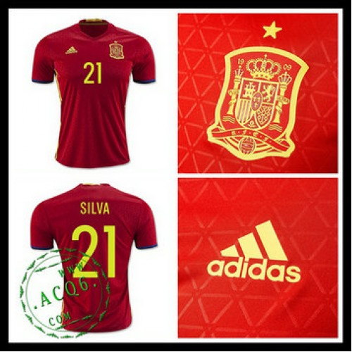 Uniforme De Futebol (21 Silva) Espanha Autêntico I Euro 2016 Masculina 009eedbea20aa