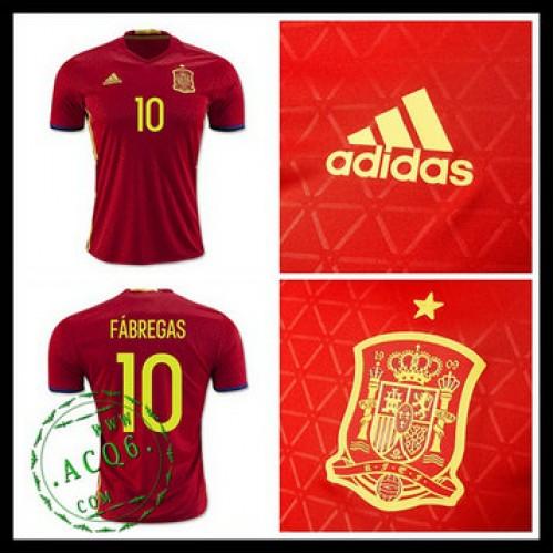 Camisa Du Futebol (10 Fabregas) Espanha Autêntico I Euro 2016 Masculina afaf0a2a46d28