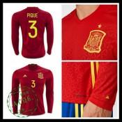 Camisa Futebol (3 Pique) Espanha Autêntico I Manga Longa Euro 2016 Masculina