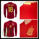 Camisas (18 Jordi Alba) Espanha Autêntico I Manga Longa Euro 2016 Masculina
