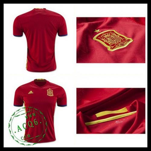 Camisas De Futebol Espanha Autêntico I Euro 2016 Masculina ... dc817cc17d007