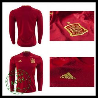 Camisas De Futebol Espanha Autêntico I Manga Longa Euro 2016 Masculina