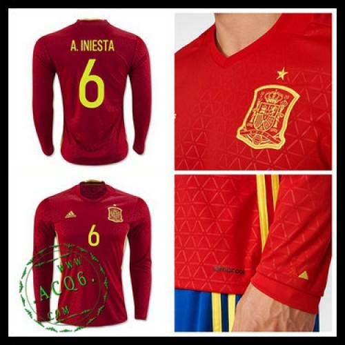 b4d7dcc46f3bd Camisas Futebol (6 A.Iniesta) Espanha Autêntico I Manga Longa Euro 2016  Masculina