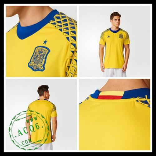 Camisetas Espanha Autêntico Ii Euro 2016 Goleiro - camisolas de ... d79f873aea498