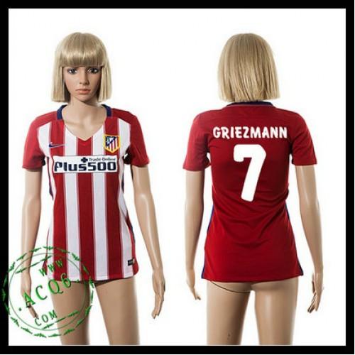 Atlético Madrid Camisa Futebol Griezmann 2015-2016 I Feminina ... f92c822af3097